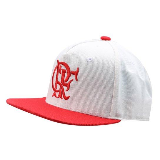 Boné Adidas Flamengo Aba Reta Masculino - Branco+Vermelho 86072f0e9da