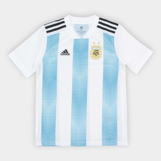 Camisa Infantil Seleção Argentina Home 2018 s n° Torcedor Adidas -  Branco+Azul dd399375e86e4