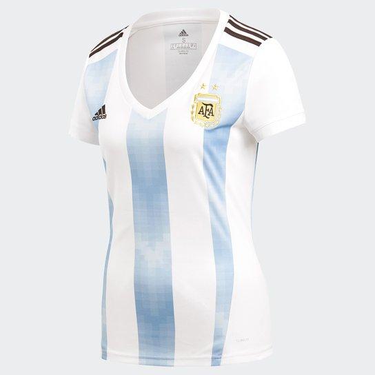 fd863f0767 Camisa Seleção Argentina Home 2018 s n° Torcedor Adidas Feminina -  Branco+Azul