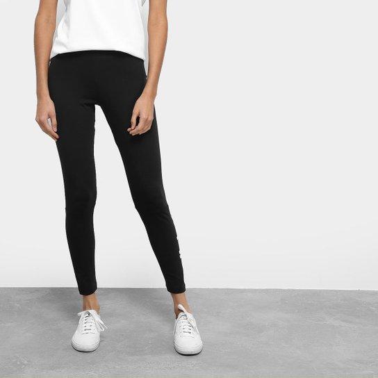 2617d6963 Calça Legging Adidas Ess Lin Cintura Média Feminina - Preto e Branco ...