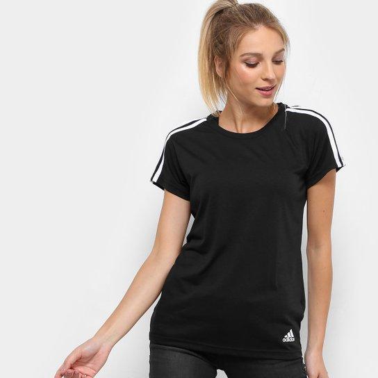 183b0eb4bea83 Camiseta Adidas M C Ess 3S Slim Feminina - Preto e Branco - Compre ...