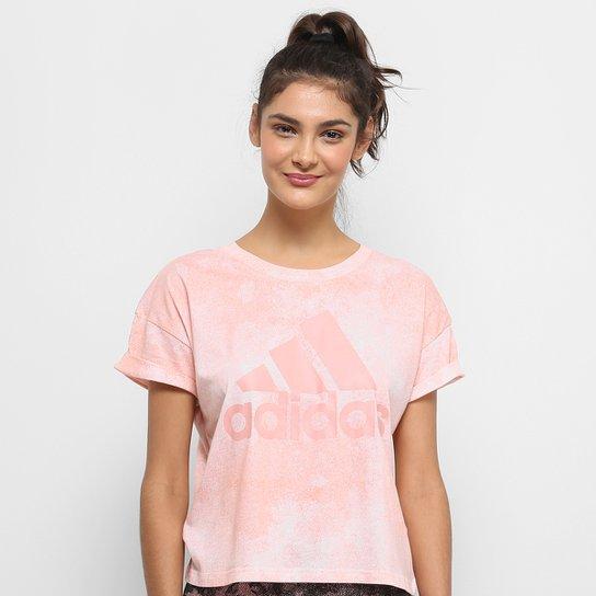 4a147512e88 Camiseta Adidas Essentials Allover Print Croped Feminina - Rosa+Branco