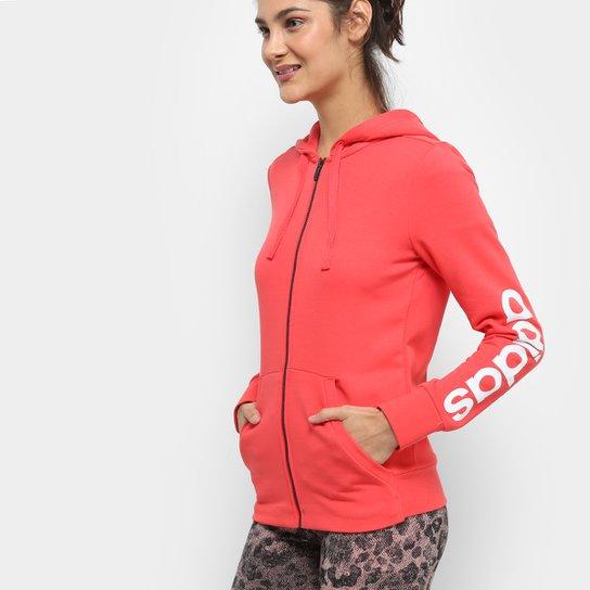 68b0e9888a Jaqueta Adidas Ess Lin Fz Hd Feminina - Vermelho - Compre Agora ...