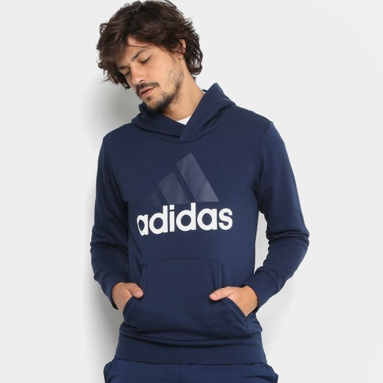 dd3ccd9d004 Moletom Adidas Ess Lin Po Ft Masculino - Marinho e Branco - Compre ...