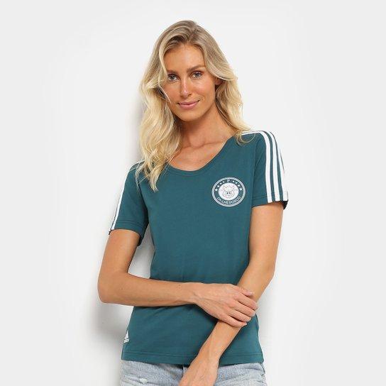 Camiseta Palmeiras Adidas 3Stripes Feminina - Compre Agora  ccc7738d2670e