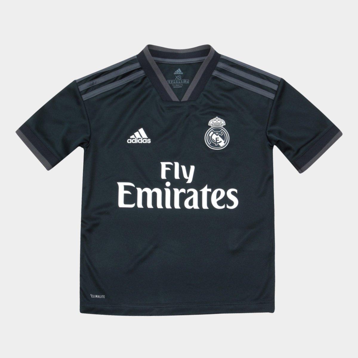 93cc38f0b Camisa Real Madrid Infantil Away 2018 s n° Torcedor Adidas