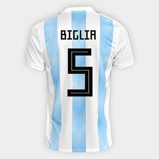 ad487b088e075 Camisa Seleção Argentina Home 2018 n° 5 Biglia - Torcedor Adidas Masculina