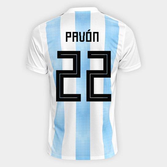 d156bf343e574 Camisa Seleção Argentina Home 2018 n° 22 Pavón - Torcedor Adidas Masculina  - Branco+
