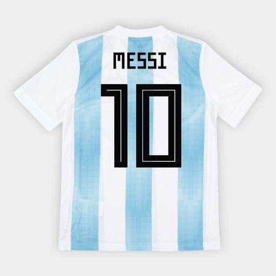 ac6ddddfb2 Camisa Seleção Argentina Infantil Home 2018 n° 10 Messi - Torcedor Adidas -  Branco