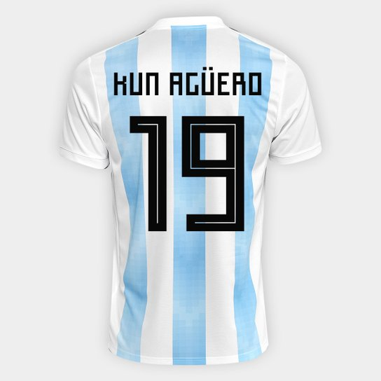 Camisa Seleção Argentina Home 2018 n° 19 Kun Agüero - Torcedor Adidas  Masculina - Branco 24ccdb3fdd103