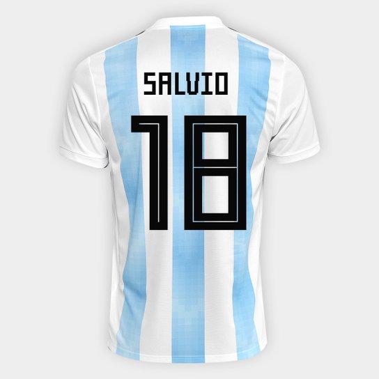 Camisa Seleção Argentina Home 2018 n° 18 Salvio - Torcedor Adidas Masculina  - Branco+ 129a0a4d69a89