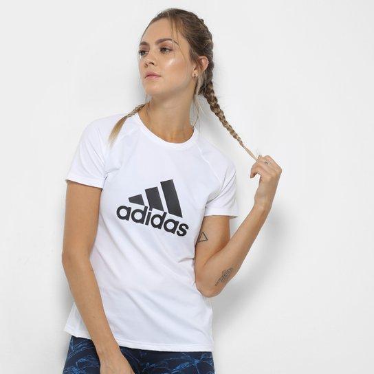 37936e352 Camiseta Adidas D2M Logo Feminina - Branco - Compre Agora