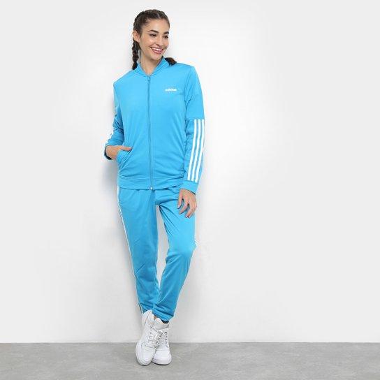 4935149143b Agasalho Adidas WTS Back2Bas Feminino - Azul e Branco - Compre Agora ...