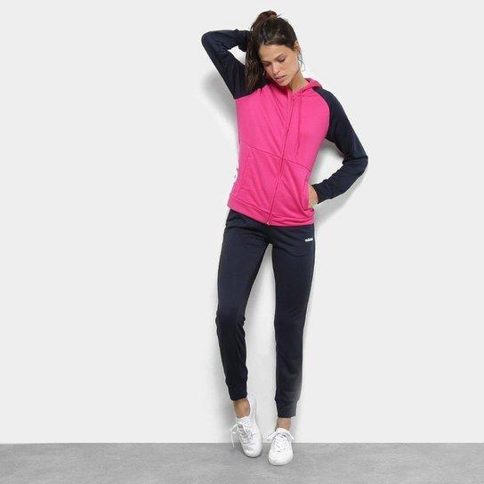 218837c166 Agasalho Adidas Detalhe Logo WTS Lin Hood Feminino - Marinho e Pink ...