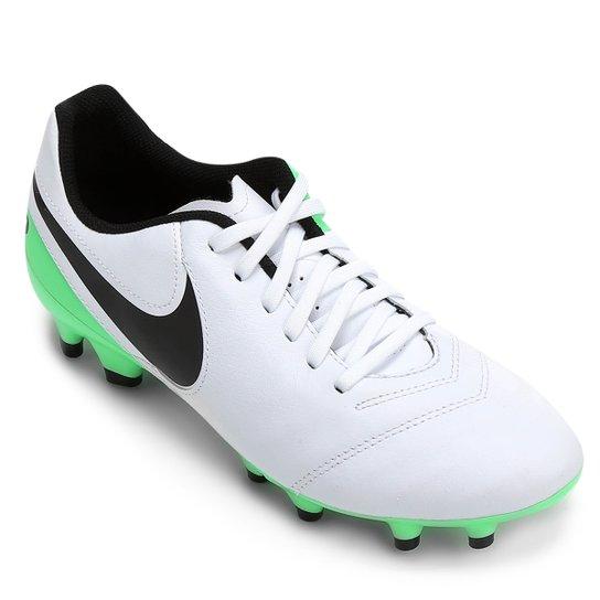 Chuteira Campo Nike Tiempo Genio 2 Leather FG - Branco+Verde Limão 8cd20adeff31d