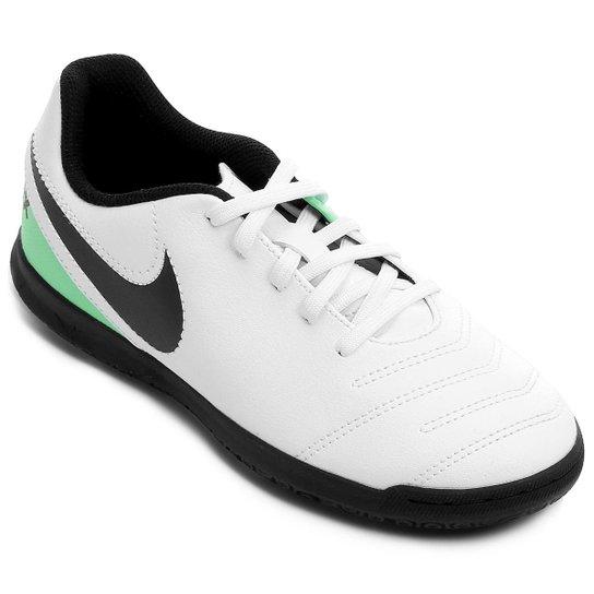 f86dc5fd31bc1 Chuteira Futsal Infantil Nike Tiempo Rio 3 IC - Branco e Verde