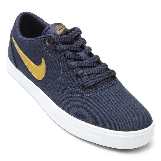 5f37e0faa9672f Tênis Nike Sb Check Solar Cnvs Masculino - Marinho e Amarelo | Netshoes