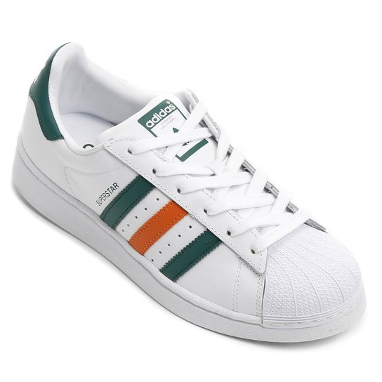 best website 5315b 0d8ca Tênis Couro Adidas Superstar Foundation Masculino - Branco+Verde