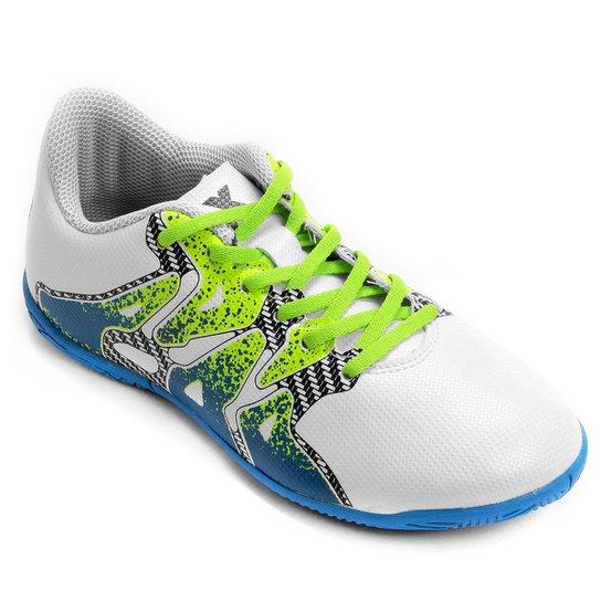 Chuteira Futsal Juvenil Adidas X 15.4 IN - Branco e Verde - Compre ... 5ef8292e78fe9