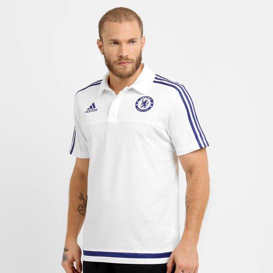 Camisa Polo Adidas Chelsea Viagem - Branco+Marinho 29d083e107793