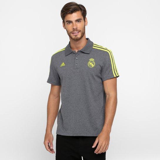 e43e6ece65bc6 Camisa Polo Real Madrid Adidas 3S Masculina - Cinza+Verde Limão