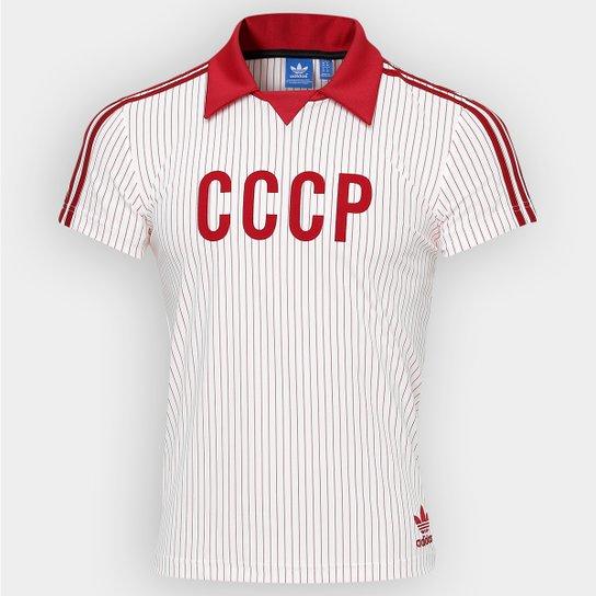 Camisa Retrô União Soviética Away 1982 Adidas Masculina - Branco+Vermelho e30fa5c2a8d7c