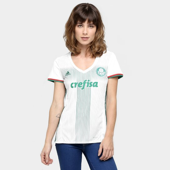Camisa Palmeiras II 2016 s nº Torcedor Adidas Feminina - Branco+Verde d85535ed3610c