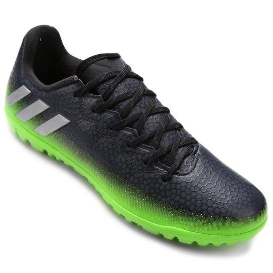 Chuteira Society Adidas Messi 16.3 TF Masculina - Chumbo e Verde ... 5375b7896de5f