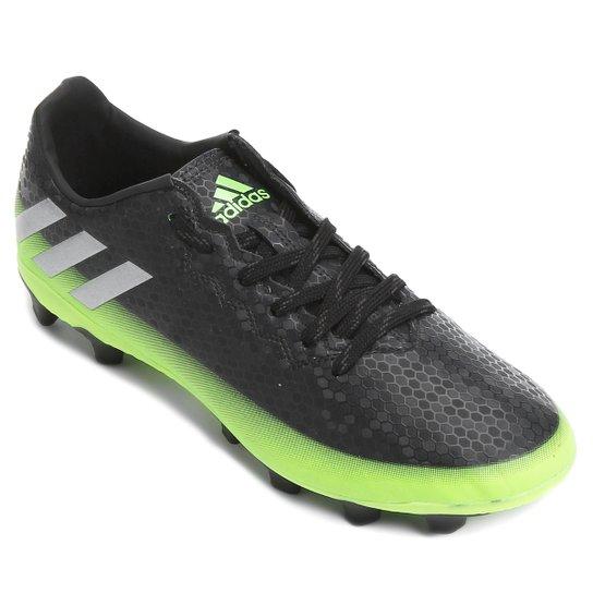 2a551f9811 Chuteira Campo Adidas Messi 16.4 FXG Masculina - Preto e Verde Limão ...