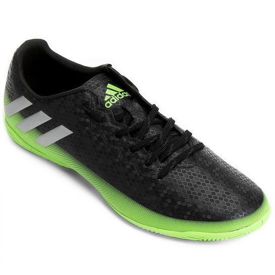 aa32b972a2 Chuteira Futsal Adidas Messi 16.4 IN Masculina - Preto e Verde Limão ...