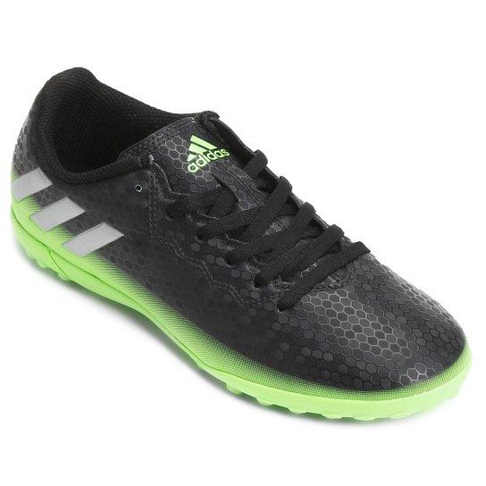 b455d3fedc Chuteira Society Juvenil Adidas Messi 16.4 TF - Preto e Verde Claro ...