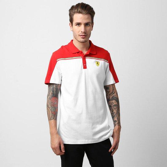 c88dfec396bfa Camisa Polo Puma Scuderia Ferrari 1 - Branco+Vermelho