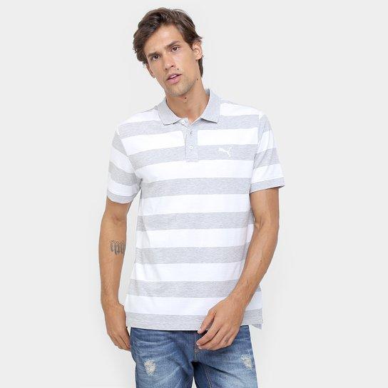 Camisa Polo Puma Ess Striped Pique Masculina - Branco e Cinza ... ed528803ed361
