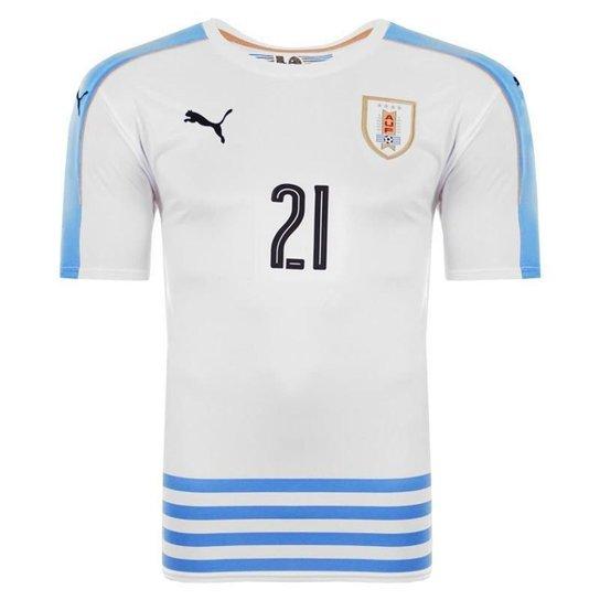 Camisa Puma Uruguai Away 2016 N°21 E. Cavani Masculina - Branco ... 5eb74a2e26af8