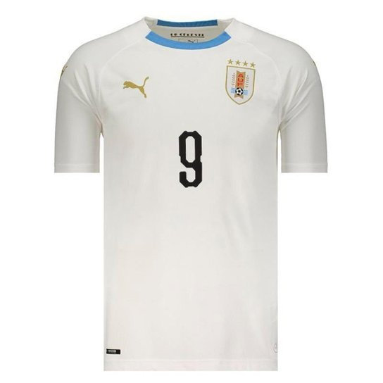 Camisa Puma Uruguai Away 2018 N°9 L. Suárez Masculina - Branco ... 429a255be1079
