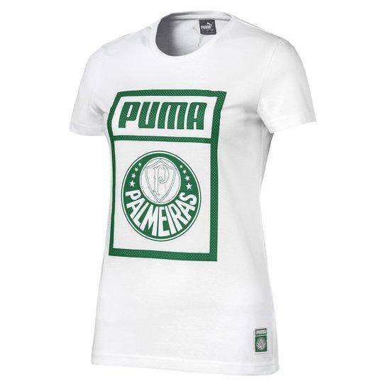 Camiseta Palmeiras Puma Graphic Feminina - Branco e Verde - Compre ... 662f2f5c085eb