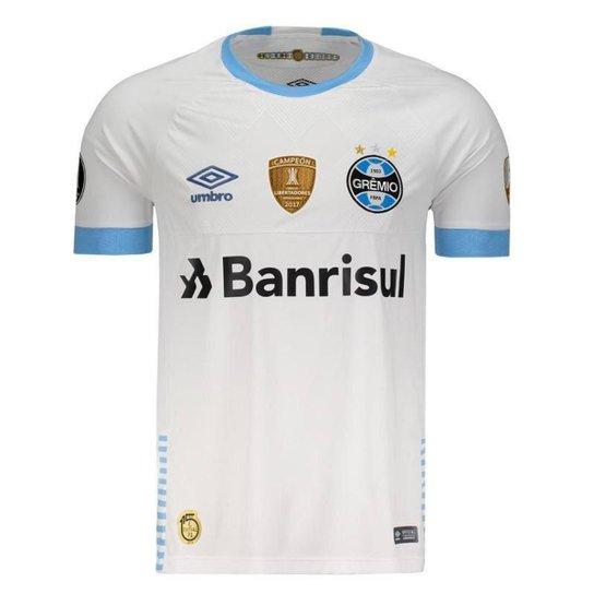 f980a67e0b428 Camisa Umbro Grêmio II 2018 Libertadores Masculina - Branco - Compre ...