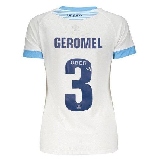 fbcd09156f104 Camisa Umbro Grêmio II 2018 Nº 3 Geromel Feminina - Branco - Compre ...
