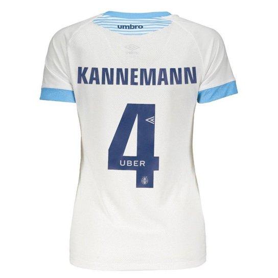 Carregando zoom. Camisa Umbro Grêmio II 2018 Nº 4 Kannemann Feminina -  Branco dd220b32aecfd
