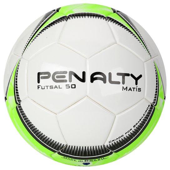 b78d8ac69d455 Bola Futebol Penalty Matis 50 Ultrafusion 5 Futsal - Branco+Verde Limão