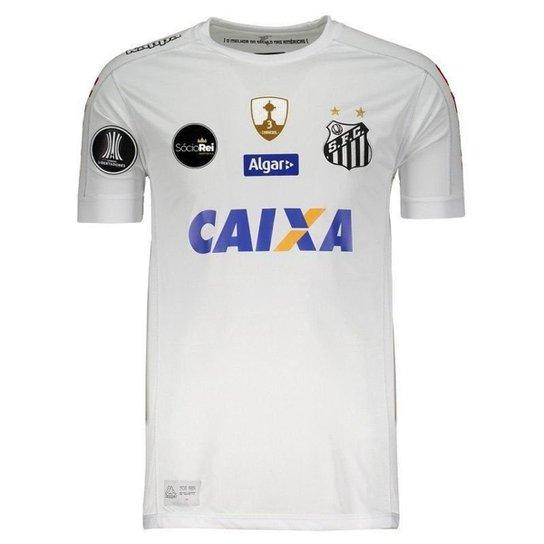 Camisa Kappa Santos I 2017 Libertadores Masculina - Branco - Compre ... ce5e8a0cc0832