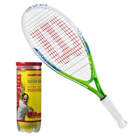 815a50a4d Raquete De Tênis Us Open Infantil 21 + 1 Pack 03 Bolas Championship Wilson  - Branco