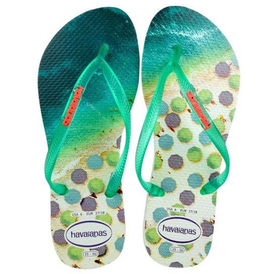 287300a70 Chinelo Havaianas Slim Paisage Feminino - Branco e Verde - Compre ...