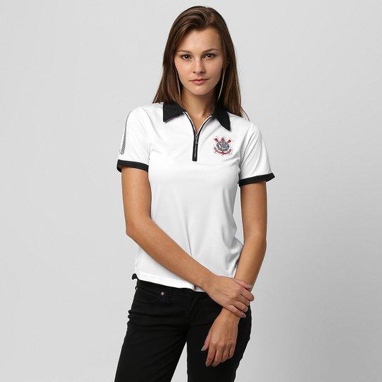 c70b96d376 Camisa Polo Feminina Corinthians Sccp - Branco+Preto