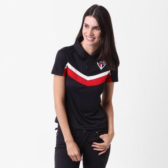 65fba142ff Camisa Polo São Paulo c  Recorte Feminina - Preto+Vermelho