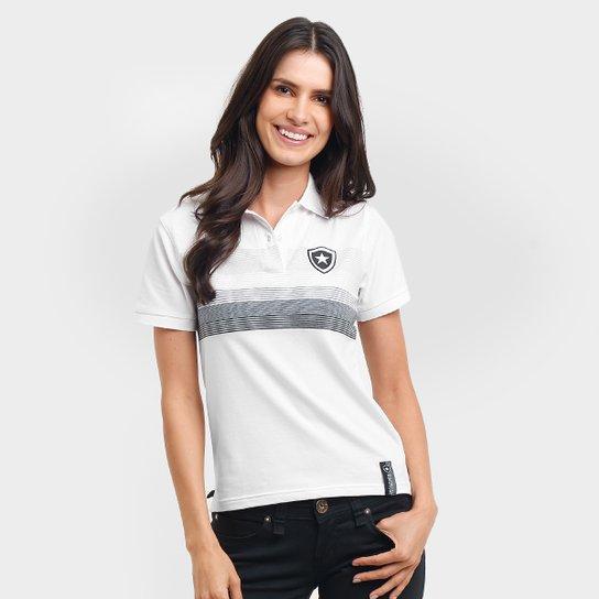 7959df89d4 Camisa Polo Feminina Botafogo Fio Tinto - Branco e Cinza - Compre ...