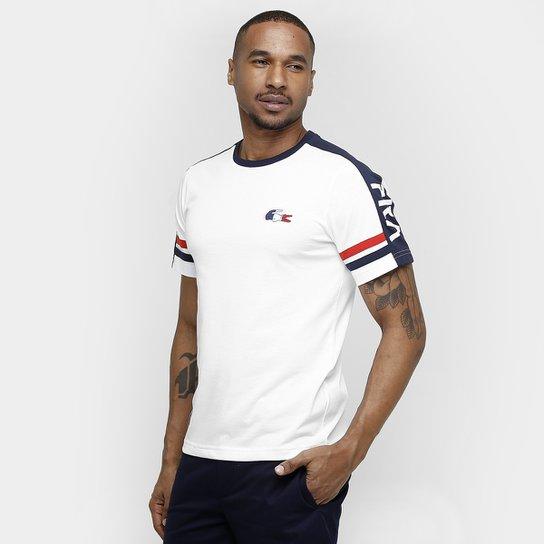 9dec395bb2660 Camiseta Lacoste Franca - Branco+Marinho