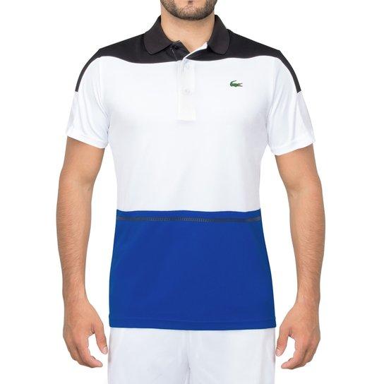 91631623a28 Camisa Polo Lacoste Fancy Tennis 2 Branca Azul e Preta-P - Compre ...