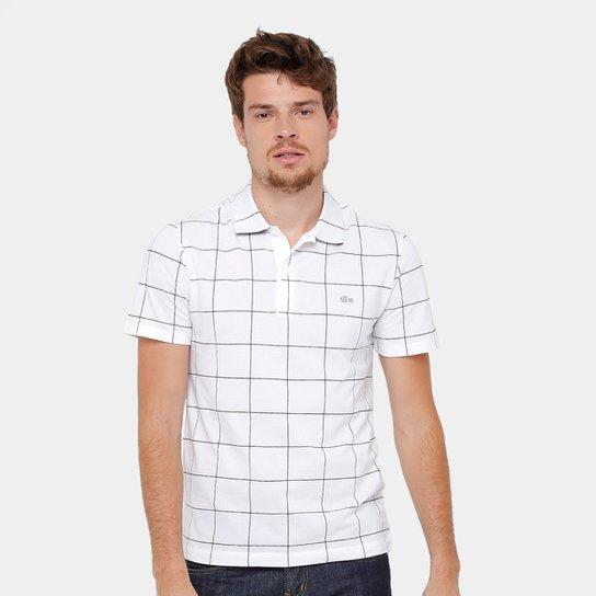 Camisa Polo Lacoste Piquet Xadrez Regular Fit Masculina - Branco ... 00a8d55b2ce4d