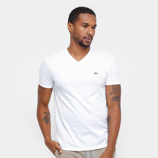 Camiseta Lacoste Gola V Regular Fit Masculina - Branco - Compre ... 585a98570d